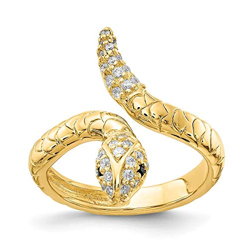 925 Sterling Silver Gold Plated Brilliant Cut Cubic Zirconia Cz Snake Band Ring Size 7.00 Animal Fine Jewelry Gifts For Women For Her ()