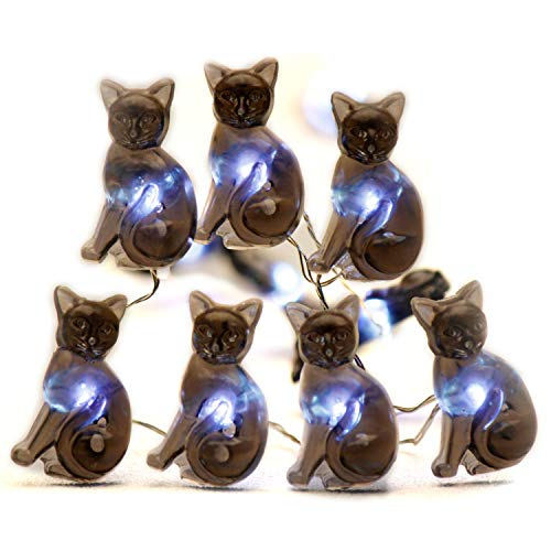 Impress Life Halloween Party String Lights, Black Cat Shape 10 ft Silver Wire 40 LEDs Battery Operated with Dimmer Remote & Timer for Indoor, Covered Outdoor, All Saints