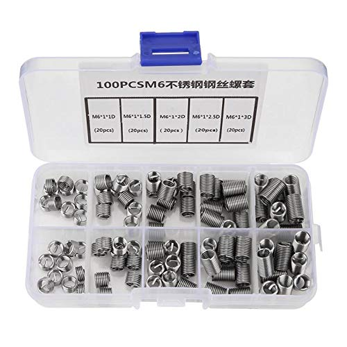 Ochoos 100pcs//Lot M6 Stainless Steel Coiled Wire Helical Screw Thread Inserts Set
