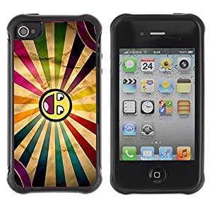 Hybrid Anti-Shock Defend Case for Apple iPhone 4 4S / Cool Awesome Colorful Smiley