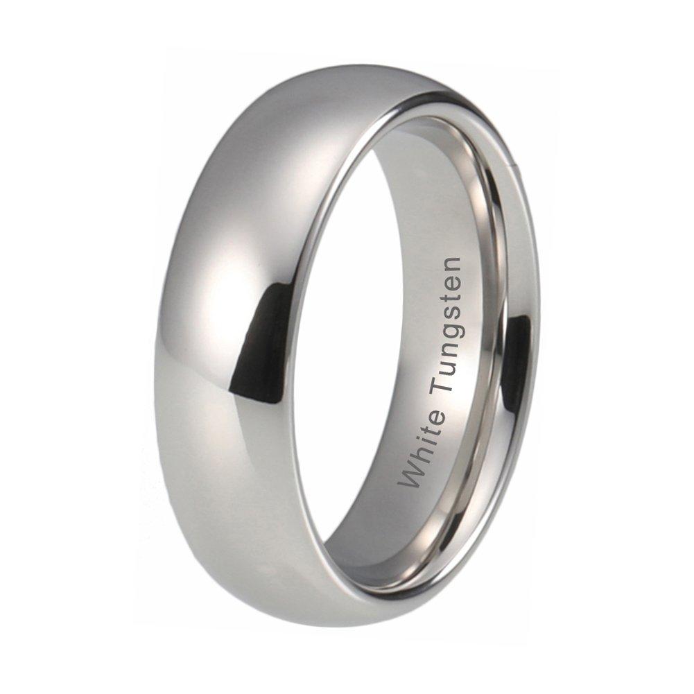 iTungsten 4mm 6mm 8mm White Tungsten Carbide Rings For Men Women Wedding Bands Platinum Plated Comfort Fit