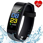 Fitness Tracker Waterproof, Activity Tracker Watch with Heart Rate Monitor, Smart Band with Blood Pressure Monitor, Calorie Counter, Sleep Monitor, Pedometer for Kids Women and Men