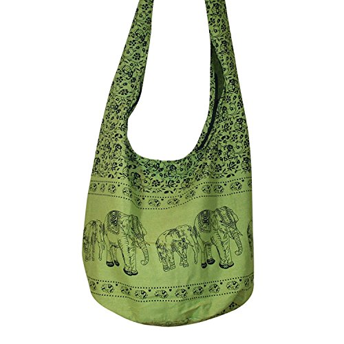 Thai Hippie Elephant Sling Crossbody Bag Shoulder Bag Purse Thai Top Zip Handmade New Color : Light Green.