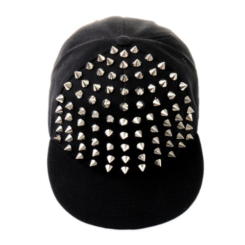 Daditong New Fashion Punk Boy Girl Unisex Rivets Spike Spiky Hip-hop hat Baseball Cap Sun Hat (Black & Silver)