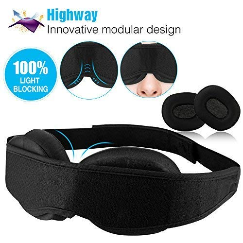 Highway Modular Sleep Mask (Fit Your Unique Face) Eye Mask for Sleeping - No Pressure on Eyes and Great for Travel/Nap/Night Sleeping - Best Night Blinder Eyeshade for Men Women Kids