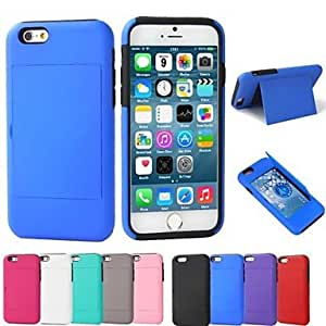 JJE Card Slot Design PC and Silicone Full Body Case with Stand for iPhone 6 (Assorted Colors) , White