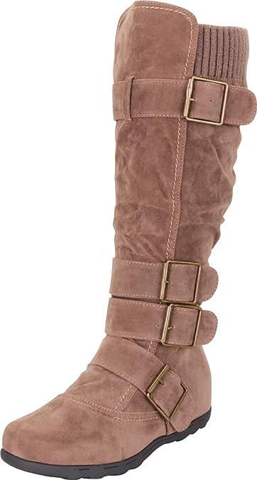 6453b5f21e8 Cambridge Select Women s Buckle Sweater Knit Flat Knee-High Boot