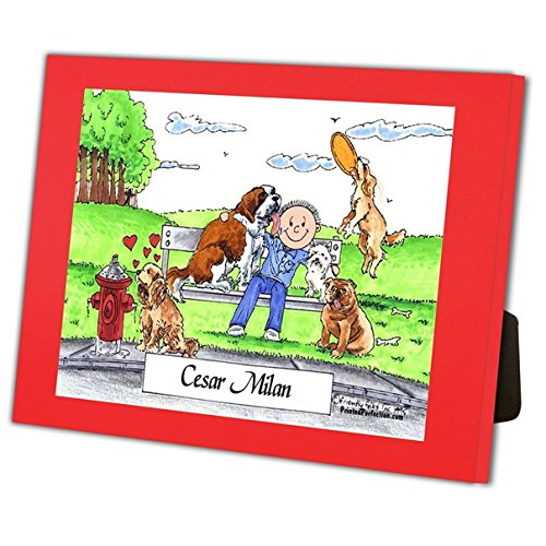 Personalized Friendly Folks Cartoon Caricature in a Color Block Frame Gift: Dog Lover - Male Great for animal rescue, pet sitter, dog walker