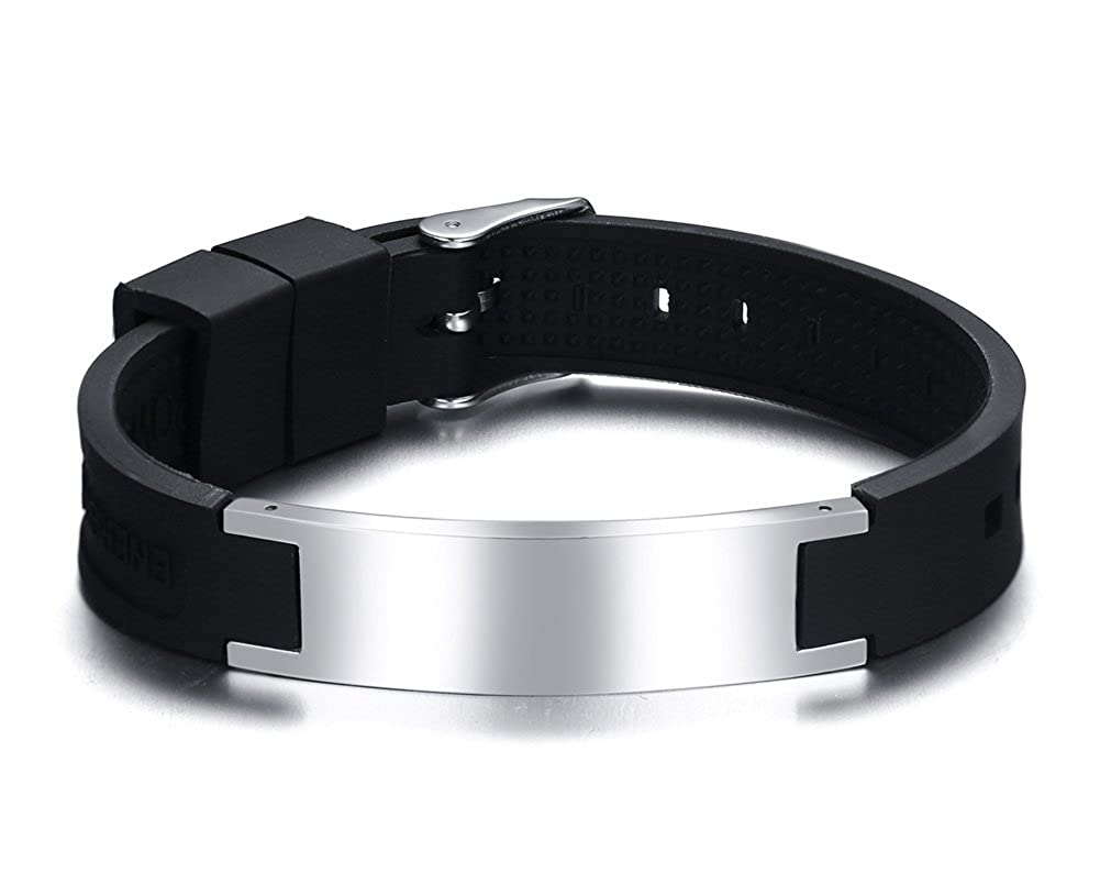 PJ Free Engraving Stainless Steel Silicone Healthy Magnetic Stones ID Bracelet for Men, Boys, Adjustable PJ Fashion PJ-BS-075B-KZ
