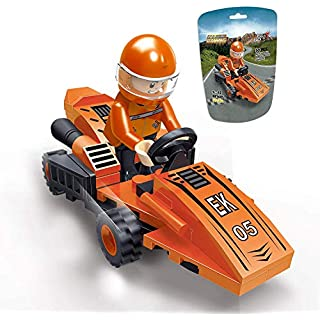 EDUKiE Toys Car, A Racing Car Building Block, A Cool Buildable Gift for 5 Year Old Kid, New 2020 EK1605 Pull Back Car Toy Orange