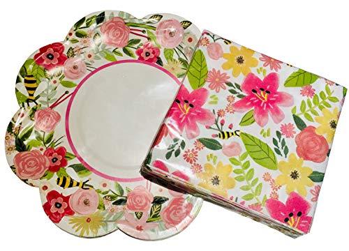 (Spring Fling Keep Life Simple Pink Floral Bee Bundle Set - 28 Cocktail Napkins + 12 Dessert Plates)