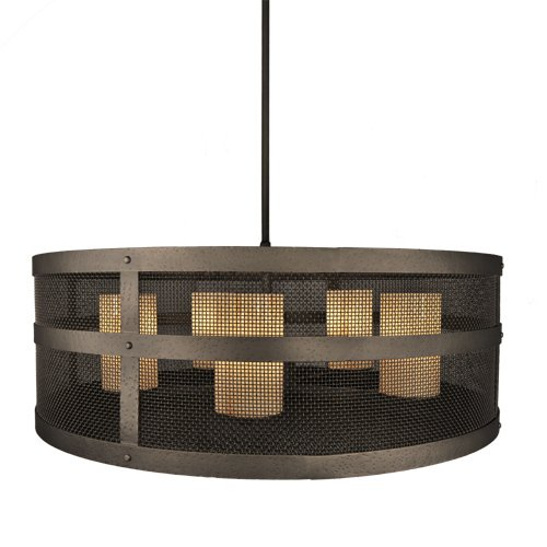 Steel Partners Lighting 2070-Open-5-R Open Portland 5 Light Chandelier with Amber Mica Lens, Rust Finish, X- ()
