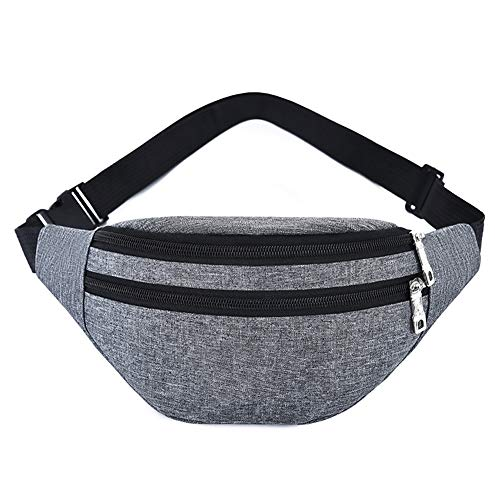Waist Pack Bag for Men&Women - Waterproof Fanny Pack with Adjustable Strap for Workout Traveling Casual Running.(Light-Gray)