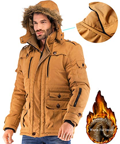 (Yozai Mens Military Winter Coat with Multi Pockets and Detachable Fur Hooded Mustard Yellow)