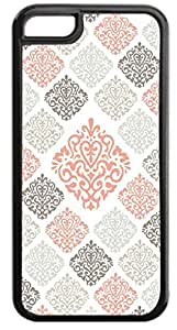 04-Large and Small Damasks-Pattern- Case for the APPLE IPHONE 5, 5s-NOT THE 5C!!!-Hard Black Plastic Outer Case with Tough Black Rubber Lining