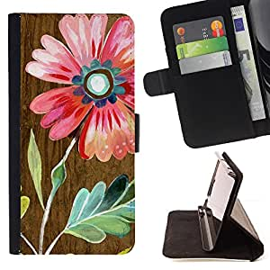 For Samsung Galaxy S6 Edge Plus Wood Nature Purple Teal Watercolor Style PU Leather Case Wallet Flip Stand Flap Closure Cover