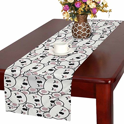 InterestPrint White and Grey Koala Faces Cute Animal Table Runner Cotton Linen Cloth Placemat for Office Kitchen Dining Wedding Party Banquet 16 x 72 Inches