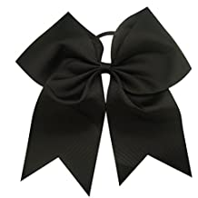 Kenz Laurenz Cheer Bows Black Cheerleading Softball - Gifts for Girls and Women Team Bow with Ponytail Holder Complete your Cheerleader Outfit Uniform Strong Hair Ties Bands Elastics by
