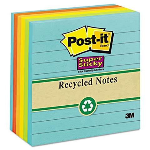 Post-it® Notes Super Sticky - Farmers Market Super Sticky Notes, Lined, 4 x 4, 6 90-Sheet Pads/Pack - Sold As 1 Pack - Holds stronger and - Hues Super Sticky Notes