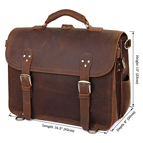 MUMUWU Men's Shoulder Bags Leather Men's Bags Crazy Horseskin Retro Men's Shoulder Crossbody Bags Executive Shoulder Bag Men (Color : Brown, Size : L)