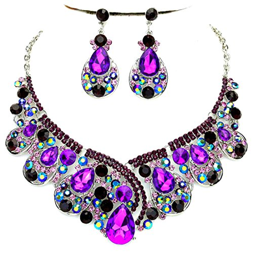 Chunky Purple Ab Rhinestone Crystal Women Statement Necklace Chandelier Earrings Set Affordable Fashion Jewelry