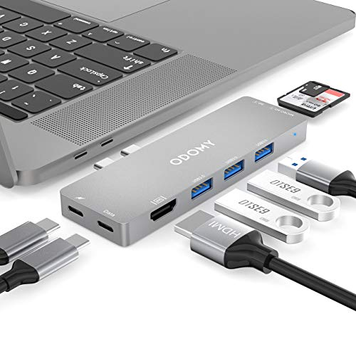 ODOMY USB C Hub 8 in 1 Type C Hub Adapter with Thunderbolt3 5K@60Hz 40Gbps, 100W Power Delivery, 3 USB 3.0 Ports, 4K@30Hz HDMI (Grey)