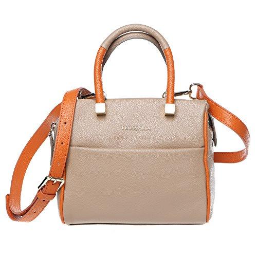 Trussardi Damen Kleine Boston Tasche mit Schulterriemen, echtes Kalbsleder Made in Italy 20x17x11 Cm Mod. 76B265M Schlamm