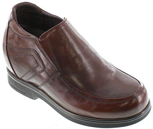calto-g61302- 11,2cm Grande Taille-Hauteur Augmenter Chaussures ascenseur (Bottes à enfiler en cuir marron foncé)
