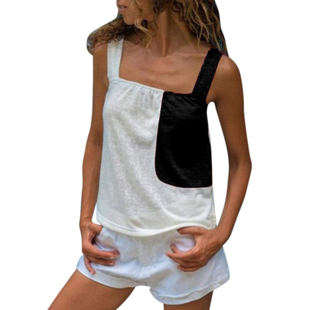 Bohelly Selling Women's Summer Contrast Stitching Sexy Sleeveless Strap Casual Camis Vest Short Sleeve Black