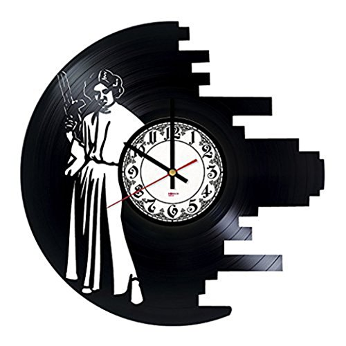 Original Trilogy HANDMADE Vinyl Record Wall Clock - Get unique living room wall decor - Gift ideas for friends, boys and girls – Action Movie Unique Modern (Princess Leia Costume Ideas)