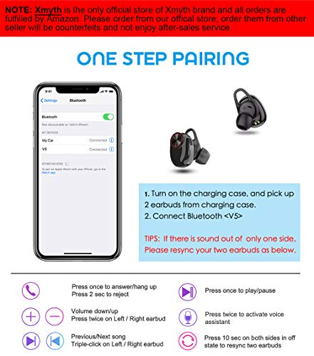 True Wireless Earbuds Bluetooth 5 0, Waterproof Sports Headphones for  Running/Gym, Noise Cancelling Earphones with Built-in Mic, 20H Playtime,  in-Ear