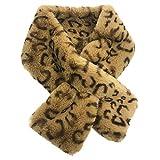 Sample9 12x80cm Women's Winter Fake Faux Fur Leopard Print Scarf Wrap Collar - Camel