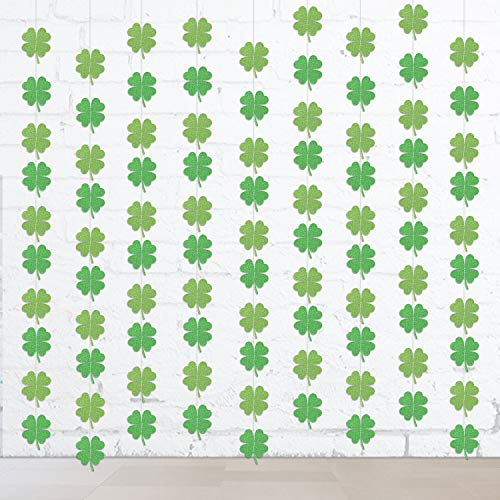 Konsait St Patrick's Day Decorations, Lucky Irish Green St. Patrick's Day Shamrock Decorations Hanging Ornaments Paper Garland, St. Patrick 's Day Decorations Party Supplies, 4M, 36 Shamrock ()