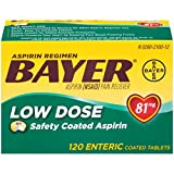 Bayer Aspirin Regimen Low Dose 81mg Enteric Coated Tablets, 120-Count
