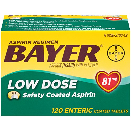- Bayer Aspirin Regimen Low Dose 81mg Enteric Coated Tablets, 120-Count