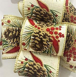 Wire Edged Burlap Pine Cone and Berry Print with Gold Trim - 100% Polyester Yards, 2-1/4