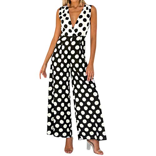 Aniywn Women's Wide Leg Long Jumpsuit Summer Sleeveless V-Neck Polka Dot Print Casual Rompers Playsuit Black ()