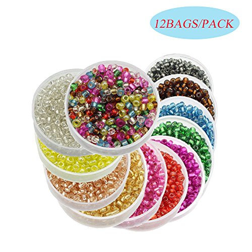 Bead Seed Loose (Approx 7200pcs 2mm Glass Seed Bugle Tube Beads Loose Bead Jewelry Findings (12colors/pack 600pcs/color) (Mixed colors 1))