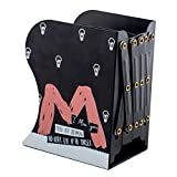 Cute Cartoon Alphabet Pattern Decorative Bookends Metal Heavy Duty Adjustable Book Holder Stable Book Stand Office Desk Organizer Shelf (Black-M)