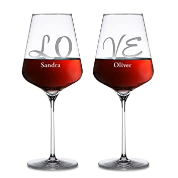 Cadeau De Noel Romantique Pour Homme.Amavel Lot De 2 Verres à Vin Rouge Personnalisés Avec Noms Gravure Individuelle Love Cadeau Pour Couple Idée Cadeau De Mariage