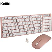 kuwfi Juego de mouse y teclado, mouse inalámbrico de 2,4GHz Teclado con área  Digital derecha con receptor USB (dorado rosa)
