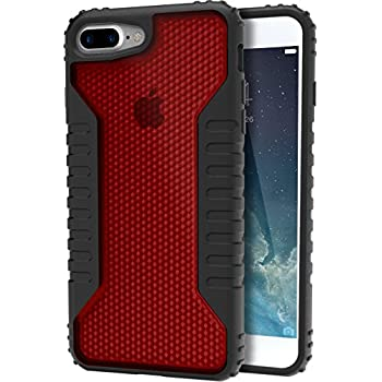 "Silk iPhone 7 Plus/8 Plus Tough Case - SILK ARMOR Protective Rugged Grip Cover - ""Guardzilla"" - Includes 2 Tempered Glass Screen Protectors - Crimson"