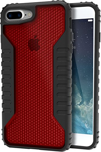 Silk iPhone 7 Plus / 8 Plus Tough Case - SILK Armor Protective Grip Cover - Guardzilla - Includes 2 Tempered Glass Screen Protectors - Red