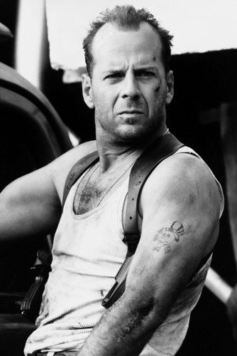 Bruce Willis beefcake in white tank top looking tough Die Hard 3 24X36 Poster (Bruce Willis Poster)