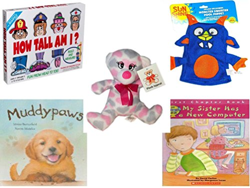 "Children's Gift Bundle - Ages 3-5 [5 Piece] - How Tall Am I? Game - Splish Splashers Monster Squirter Pool Puppet Toy - Plush Appeal Pretty Pink and Purple Hearts Bear Plush 7"" - Muddypaws Hardcover"