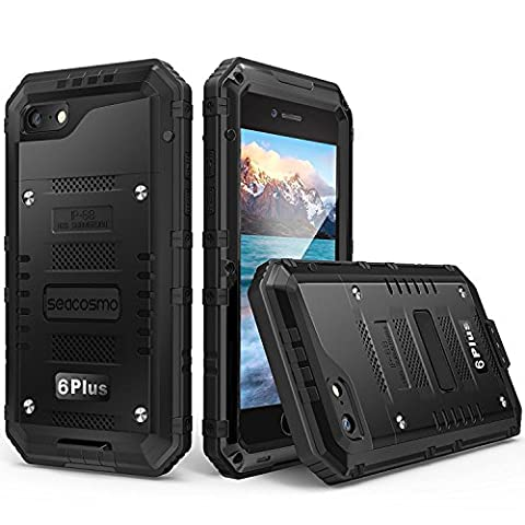 iPhone 6 Plus Waterproof Metal Case, Seacosmo Full Body Military Rugged Heavy Duty Shockproof Dual Layer Protective Bumper Shell with Built-in Screen Protector for iPhone 6S Plus, (Iphone 6 Plus Military Metal Case)