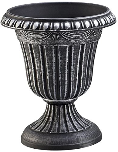J&M Garden Urn Planter Traditional Flower Pot 12'' H For Patio & Front Entrance in Black Silver Finish by J&M