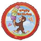 Unique Industries 15885 Curious George B-Day Flat Balloon, 18""