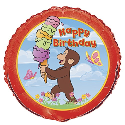 Unique Industries 15885 Curious George B-Day Flat Balloon, 18