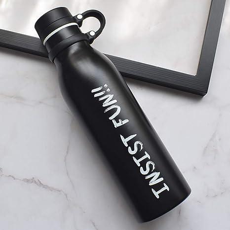 CQAZX Botella de Agua de Acero Inoxidable de 600 ml con asa ...